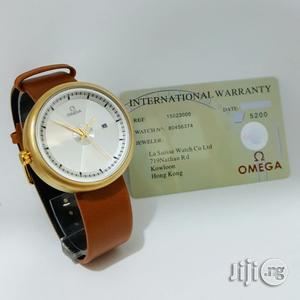 Omega Brown Leather Wristwatch Man | Watches for sale in Lagos State, Oshodi