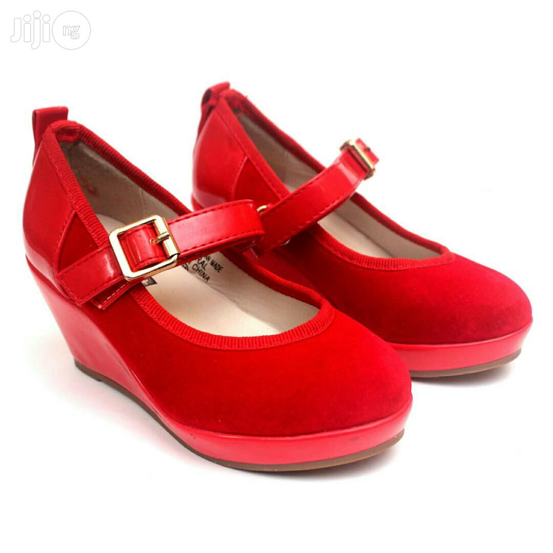 Red Suede Wedge Shoe for Girls