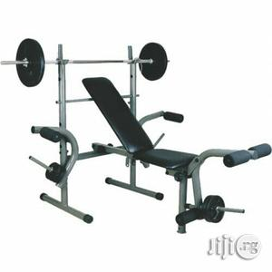 Weight Liftting Bench With 50kg Barbell | Sports Equipment for sale in Lagos State, Surulere