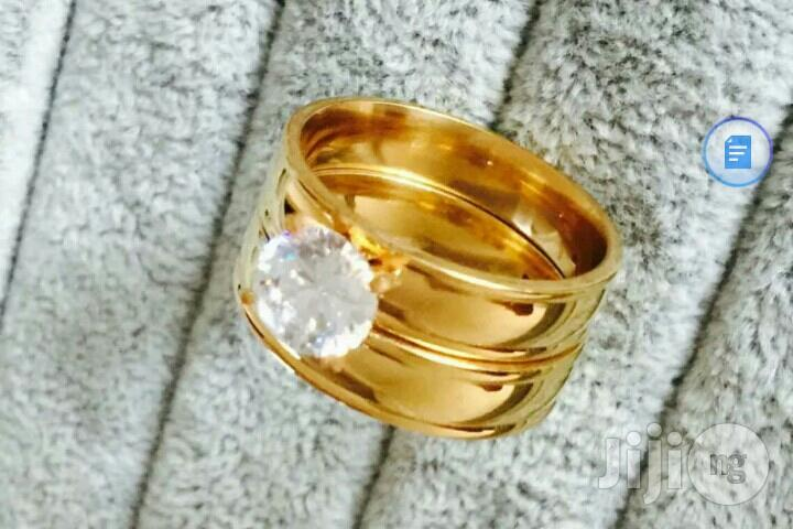 Archive: Gold Stainless Steel Wedding Ring Set