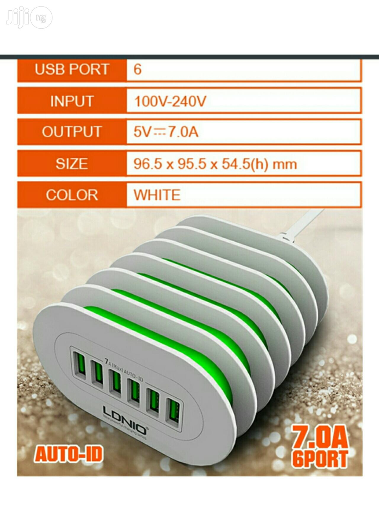 LDNIO 6 USB Multi Ports 7A Charging Station Smart Adaptive   Accessories for Mobile Phones & Tablets for sale in Apapa, Lagos State, Nigeria
