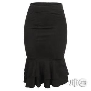 Nma the Evie- Midi Frill Skirt - Black   Clothing for sale in Abuja (FCT) State
