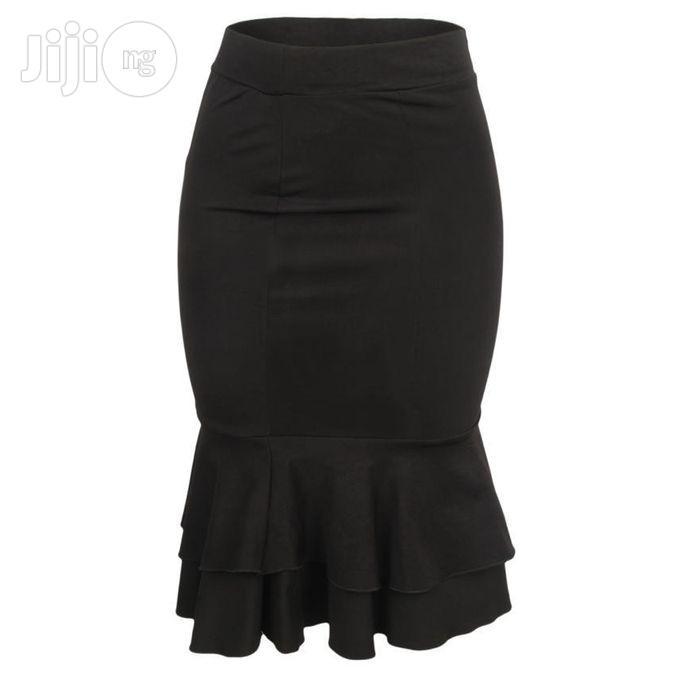Nma the Evie- Midi Frill Skirt - Black