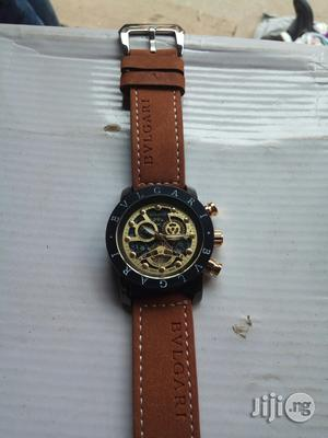 BVLGARI Brown Leather Wristwatch.   Watches for sale in Lagos State, Surulere