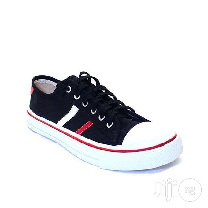 Bata Striped Sneakers - Black/Red