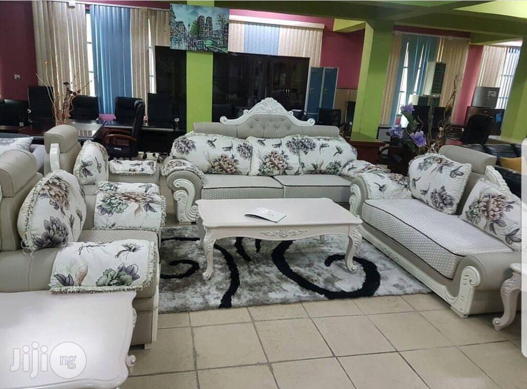 Fabric and Leather Royal Sofa