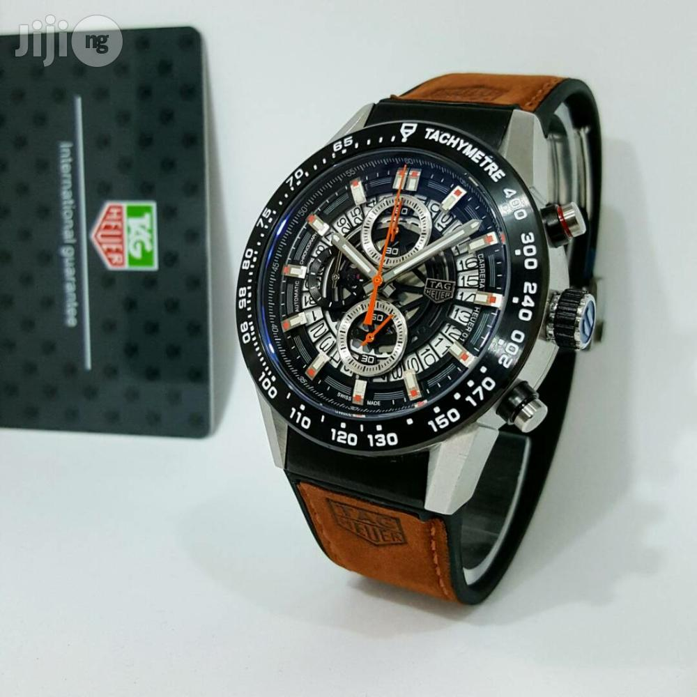 Tag Heuer Chronograph Brown Leather Wristwatch