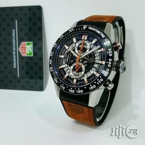Tag Heuer Chronograph Brown Leather Wristwatch   Watches for sale in Lagos State, Oshodi