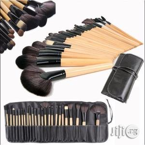 24 Pcs Professional Make Up Brush Set - Bamboo And Black Colour   Makeup for sale in Lagos State, Ikeja
