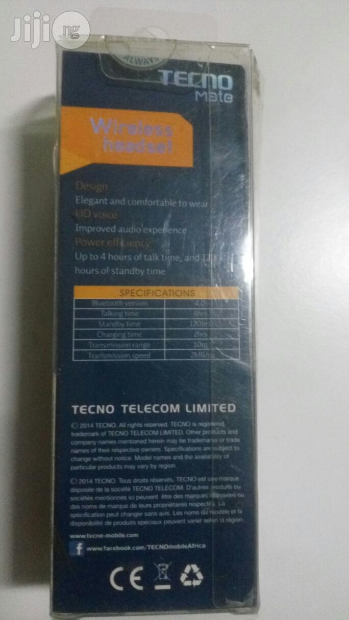 Tecno Mate Wireless Headset-Eb-C | Accessories for Mobile Phones & Tablets for sale in Ikeja, Lagos State, Nigeria