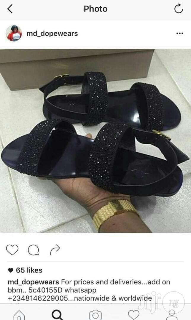 Men High Quality Zannoti Black Sandals