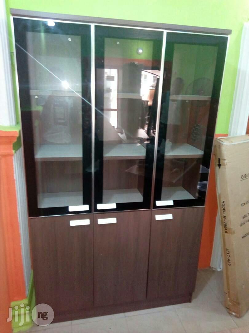 3 Doors Wood and Glass Bookshelf