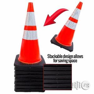"""28"""" Orange Safety Traffic PVC Cones With Two Reflective Collars - Set 