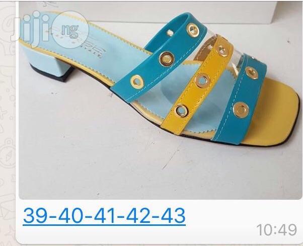 Ladies Italian Multi Coloured Low Heel Sandals | Shoes for sale in Lekki, Lagos State, Nigeria