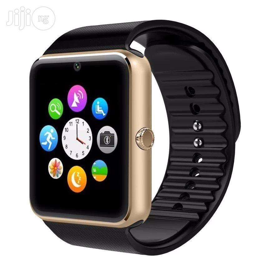 A Phone Watch Having A SIM Card Slot And Camera Black Gold Silver
