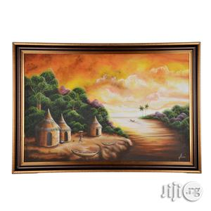 A Big Artwork Frame of Village Scene in West Africa - Handmade (40x25)   Arts & Crafts for sale in Lagos State