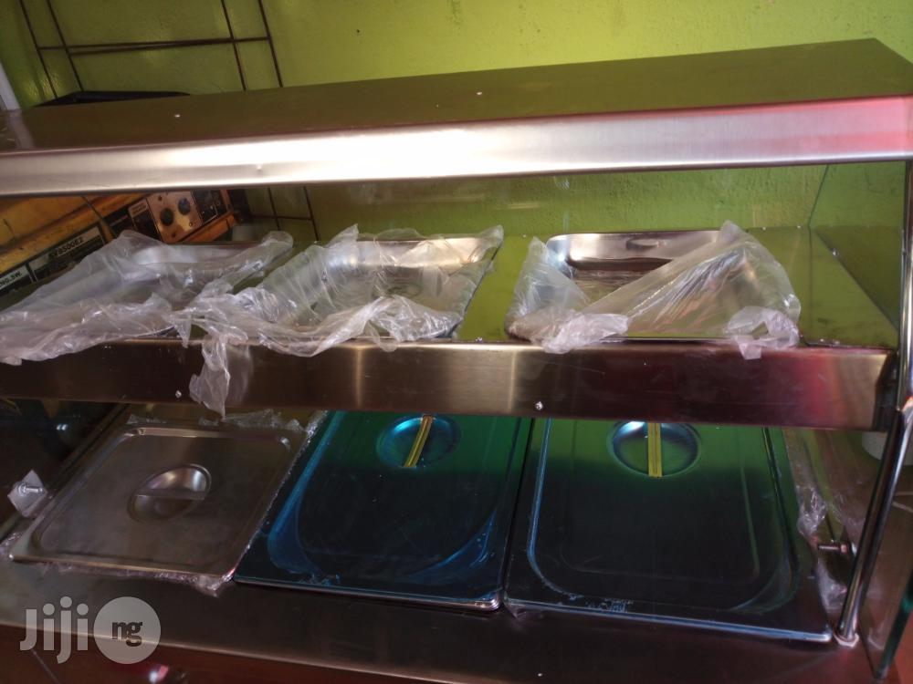 Bain Marie/Food Display Warmer 3 Full Plates With Upper Snack Shelf