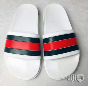 Italian GUCCI White Palm Slippers Designer For Man | Shoes for sale in Lagos State, Lekki