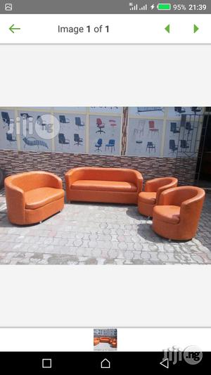 Seven Seaters Sofa Chairs Orange Colour   Furniture for sale in Lagos State, Lekki