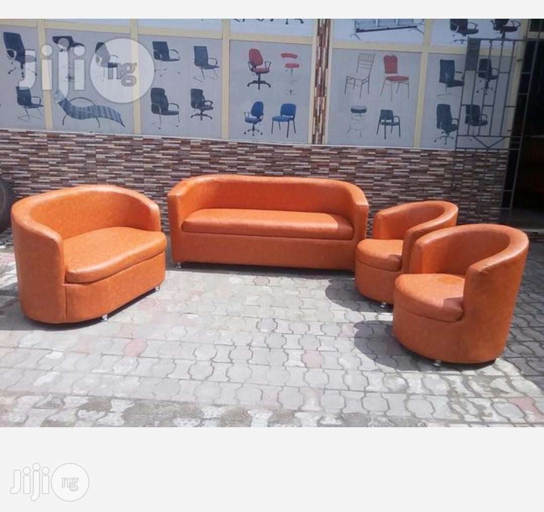 Seven Seaters Sofa Chairs Orange Colour   Furniture for sale in Lekki, Lagos State, Nigeria
