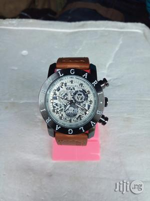Bvlgari Brown Leather Wristwatch   Watches for sale in Lagos State, Surulere