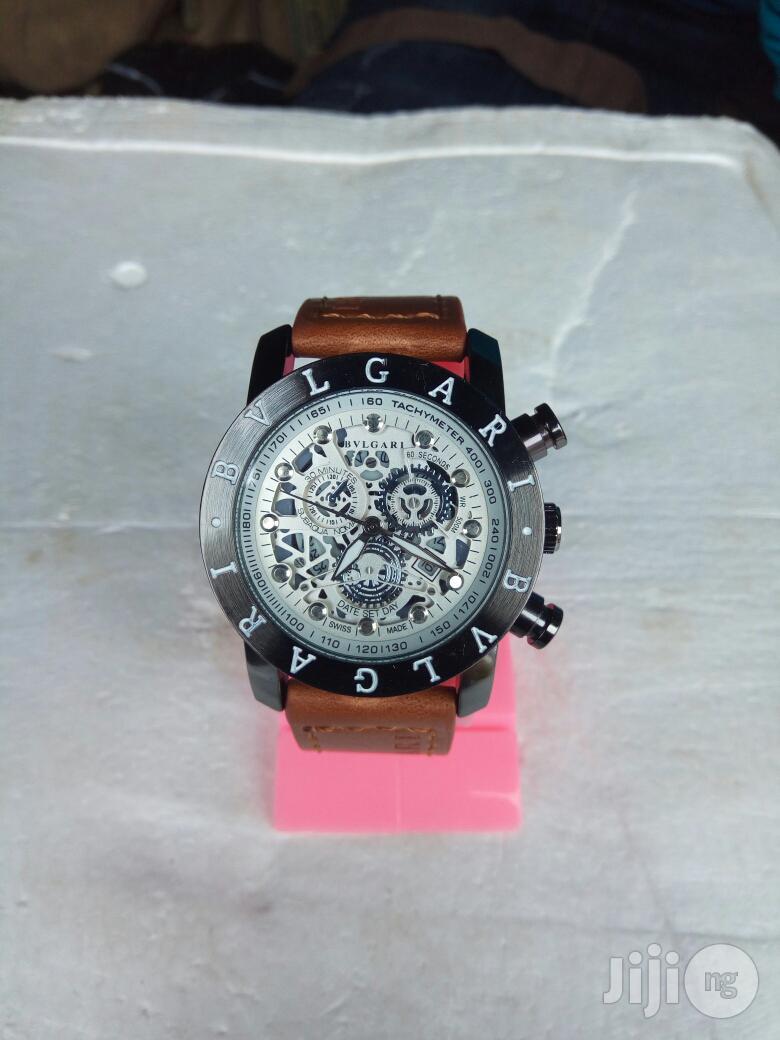 Bvlgari Brown Leather Wristwatch