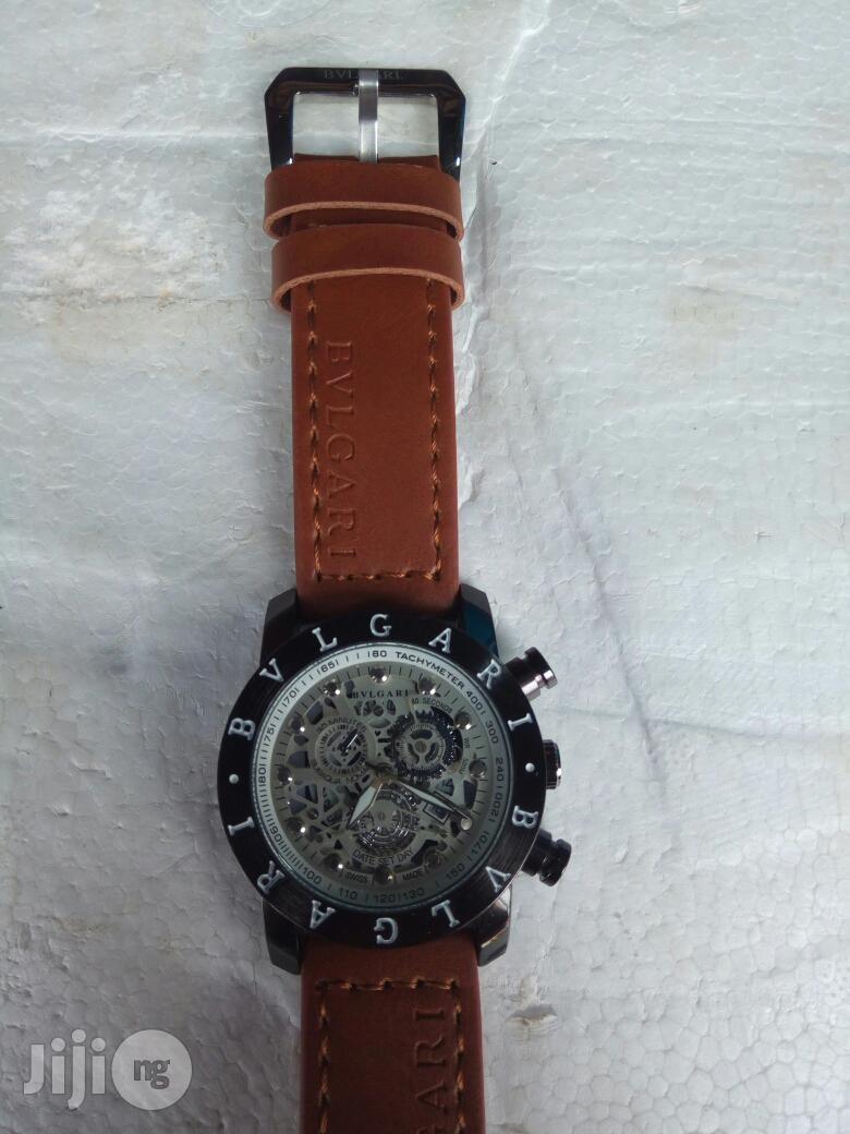 Bvlgari Brown Leather Wristwatch   Watches for sale in Surulere, Lagos State, Nigeria