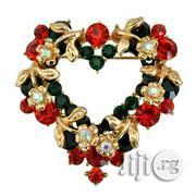 Crystal Rhinestone Heart Christmas Ladies Brooch | Jewelry for sale in Lagos State, Surulere