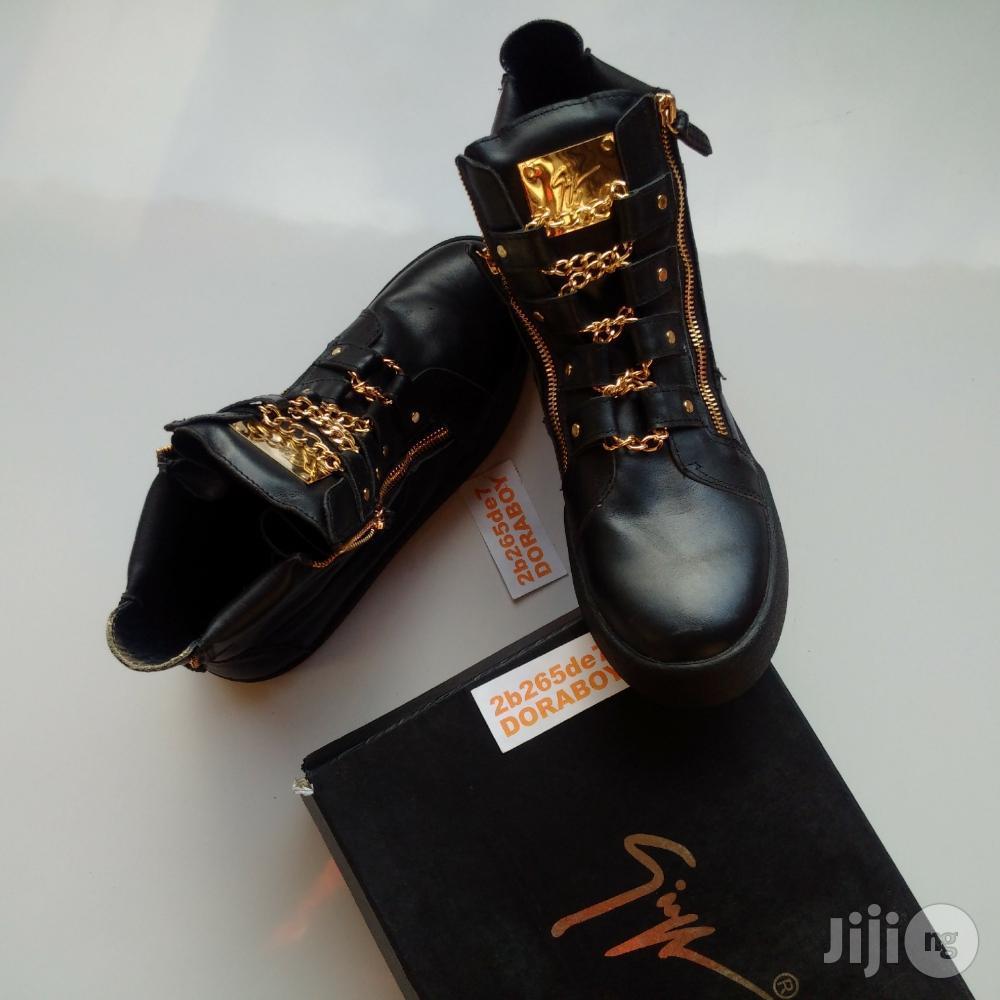 Giuseppe Zanotti Gold Chain Strap Hi Top Sneakers | Shoes for sale in Ojo, Lagos State, Nigeria