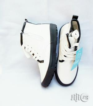 White and Black Sole Laced Up High Top Sneakers for Boys | Children's Shoes for sale in Lagos State, Lagos Island (Eko)