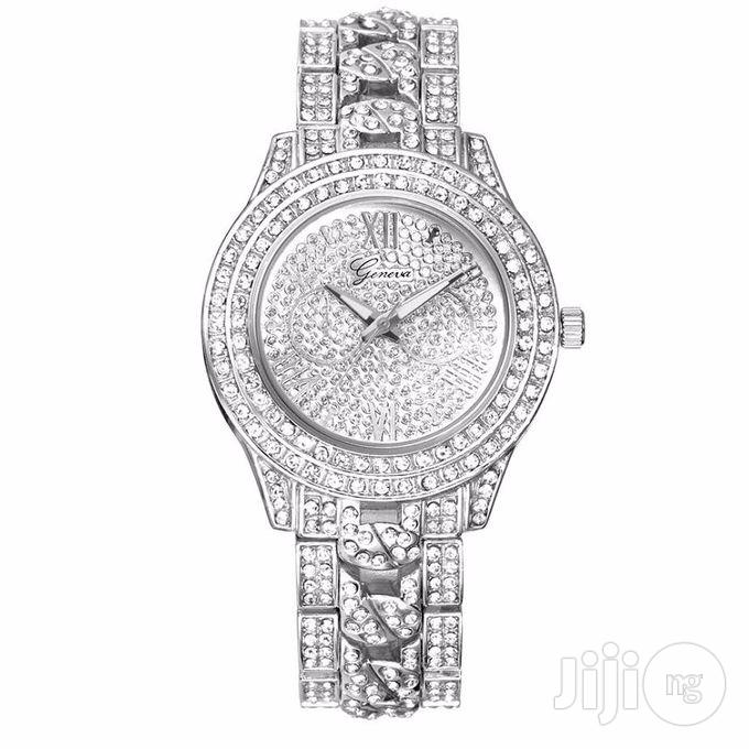 Wrist Watch Studded Female Watch On Silver Watch, Rose Gold Watch | Watches for sale in Lagos State, Nigeria