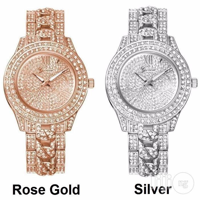 Wrist Watch Studded Female Watch On Silver Watch, Rose Gold Watch