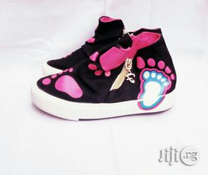 Black and Pink High Top Sneakers for Girls | Children's Shoes for sale in Lagos State, Lagos Island (Eko)