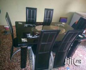 Padded Glass Dining Table 6 Seater