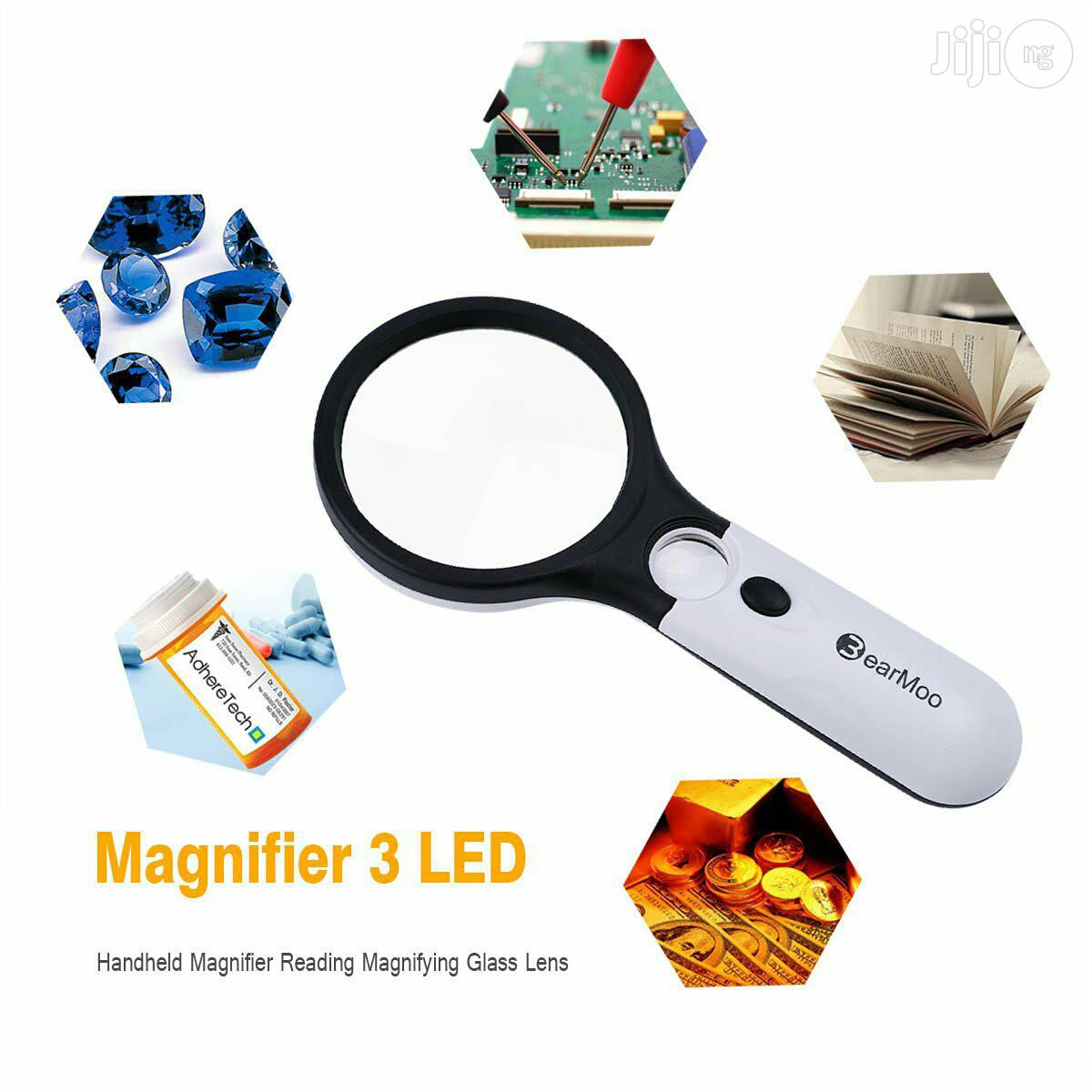 USA Magnifying Glass With Light Bearmoo Magnifier 3LED 3X 45X Handheld | Stationery for sale in Alimosho, Lagos State, Nigeria