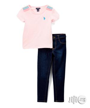 U.S Polo Assn Pink Tee and Jean   Children's Clothing for sale in Lagos State