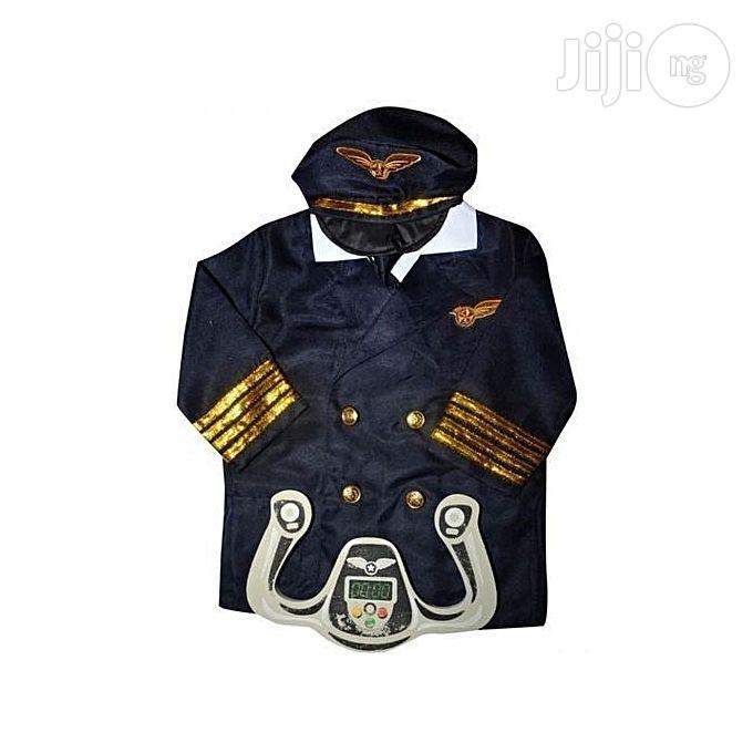 Universal Pilot Costume for Children- Plastic Steering - Black/White