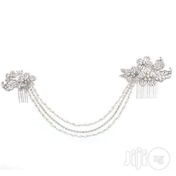 Archive: Wedding Bridal Headpiece Rhinestone Hair Chain Drapes Flower Hair Comb
