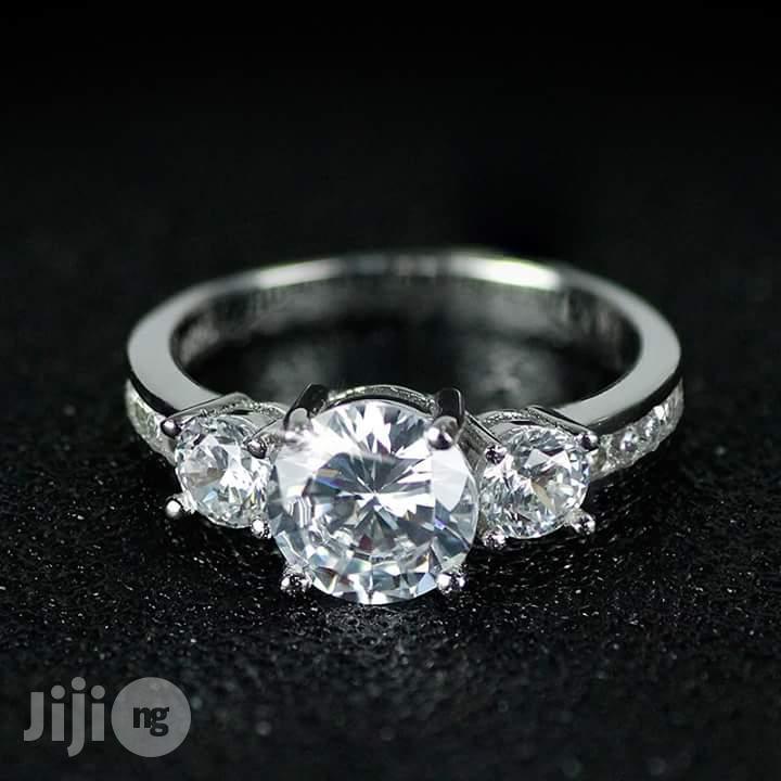 U.S Slendid Diamond Sterling Silver Engagement Ring - Silver