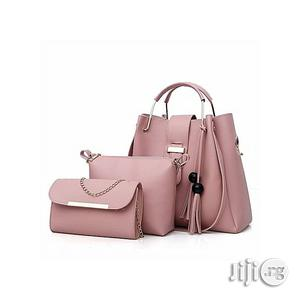 Set of 3 in 1 Leather Handbag With Chain Purse Pink Hand Bag | Bags for sale in Abuja (FCT) State