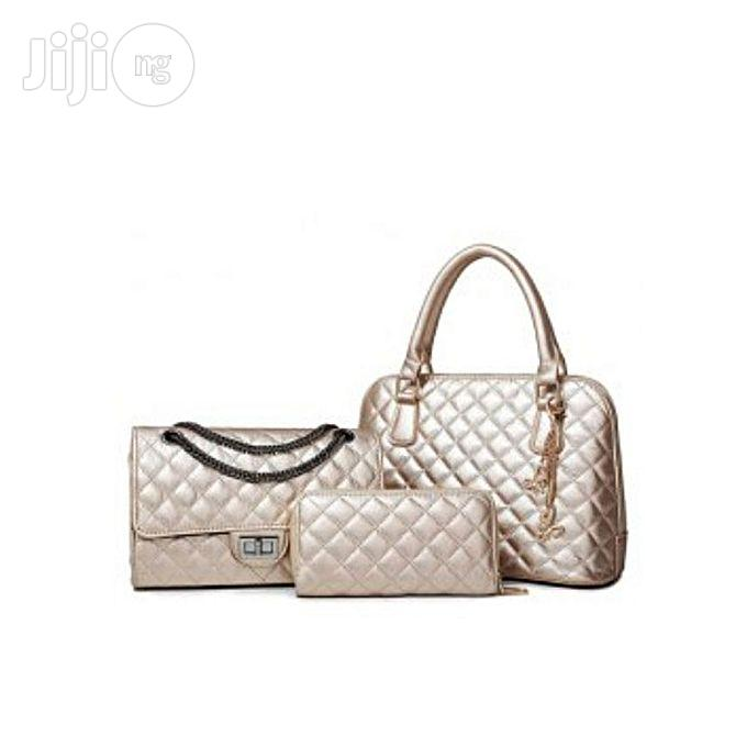 Set 3 in 1 Stylish Checked and Chains Handbag Champagne Gold Hand Bag