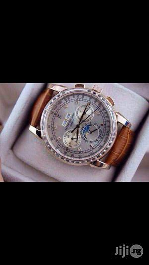 PATEK PHILIPPE Geneve Swiss Made Genuine Leather Strap Chronograph Watch   Watches for sale in Lagos State, Surulere