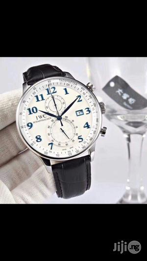 IWC Schaffhausen Genuine Leather Strap Chronograph Watch | Watches for sale in Lagos State, Surulere