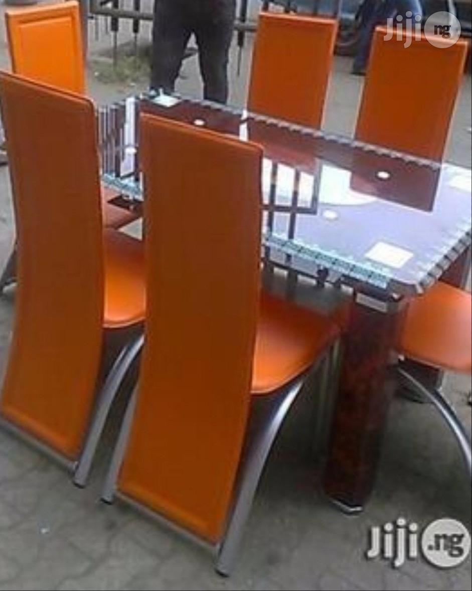 Imported Glass Dining Table With Six Chairs