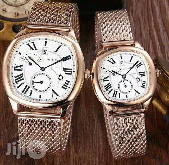Cartier Rose Gold Net Chain Watch for Couples