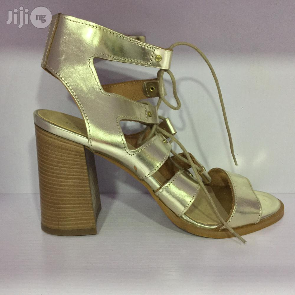 Leather Gold Block Heel Lace Up Sandals