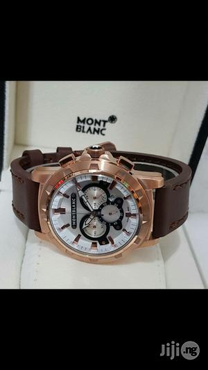 Montblanck Chronograph Genuine Leather Strap Watch | Watches for sale in Lagos State, Surulere