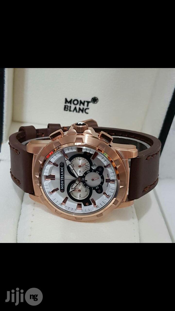 Montblanck Chronograph Genuine Leather Strap Watch