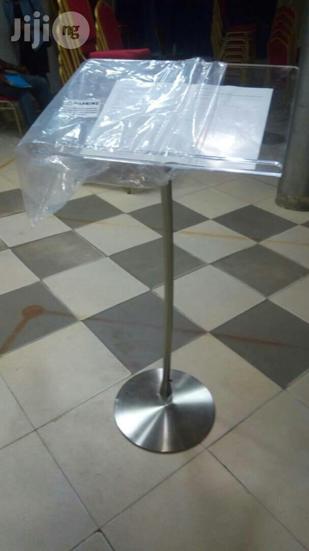 Tiny Stand Clear Acrylic Church Pulpit | Furniture for sale in Magodo, Lagos State, Nigeria