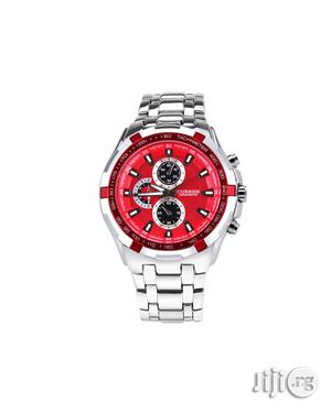 Curren Analog Waterproof Watch - Silver- Red Face | Watches for sale in Lagos State, Agege